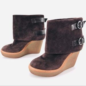 Brown Suede Wedge Ash Boots Buckles Sz 36
